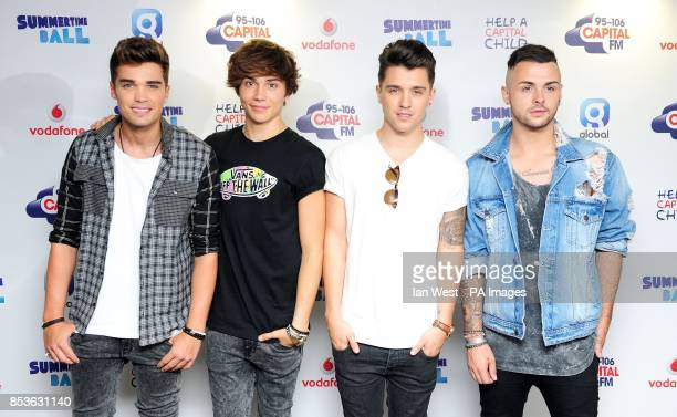 Josh Cuthbert JJ Hamblett Jaymi Hensley and George Shelley Union J backstage at the Capital FM Summertime Ball held at Wembley Stadium London
