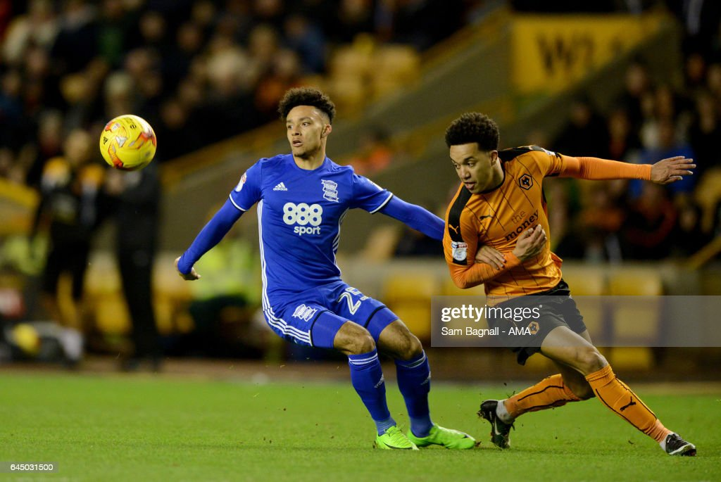 Josh Dacres-Cogley of Birmingham City and Helder Costa of Wolverhampton Wanderers during the Sky Bet Championship match between Wolverhampton Wanderers and Birmingham City at Molineux on February 24, 2017 in Wolverhampton, England.