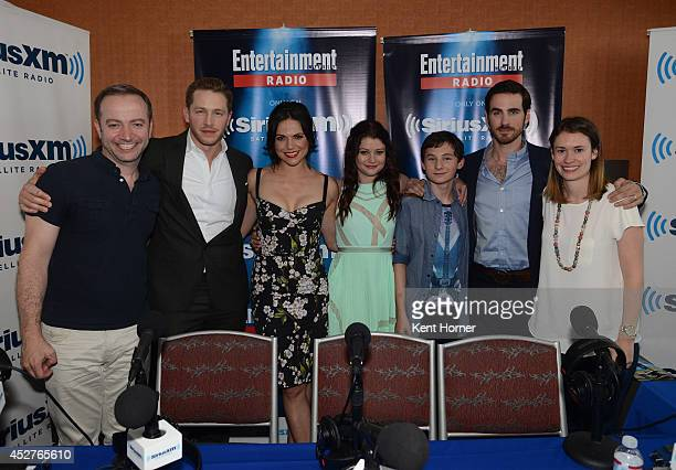 Josh Dallas Lana Parrilla Emilie de Ravin Jared Gilmore and Colin O'Donoghue pose with radio hosts Marios Correa and Julia Cunningham after being...
