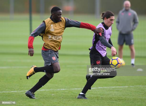 Josh Dasilva and Hector Bellerin of Arsenal during a training session at London Colney on November 1 2017 in St Albans England