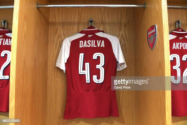 Josh Dasilva Arsenal kit in the changing room before the match between Arsenal and Doncaster Rovers at Emirates Stadium on September 20 2017 in...