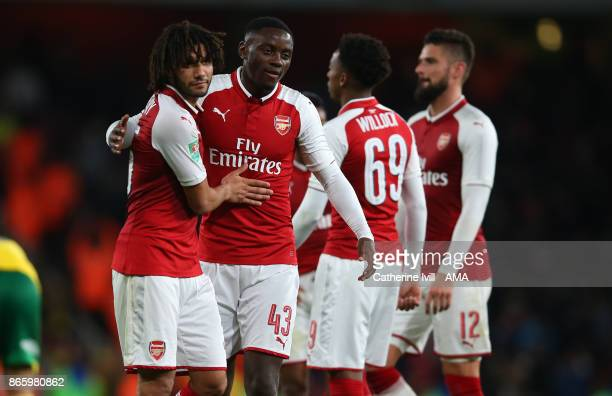 Josh Dasilva of Arsenal and Mohamed Elneny of Arsenal during the Carabao Cup Fourth Round match between Arsenal and Norwich City at Emirates Stadium...