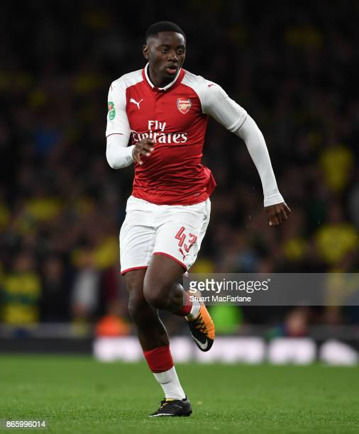 Josh Dasilva of Arsenal during the Carabao Cup Fourth Round match between Arsenal and Norwich City at Emirates Stadium on October 24 2017 in London...