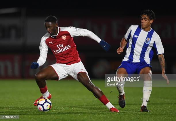 Josh Dasilva of Arsenal takes on Federico Varela of Porto during the match between Arsenal U23 and Porto at Meadow Park on November 17 2017 in...