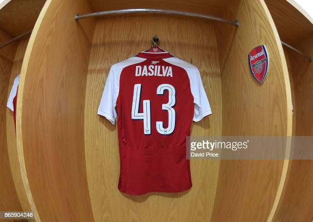 Josh Dasilva's Arsenal shirt in the changing room before the Carabao Cup Fourth Round match match between Arsenal and Norwich City at Emirates...