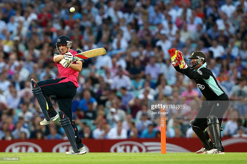 Josh Davey of Middlesex plays a pull shot during the Friends Life T20 match between Surrey Lions and Middlesex Panthers at The Kia Oval on July 5, 2013 in London, England.