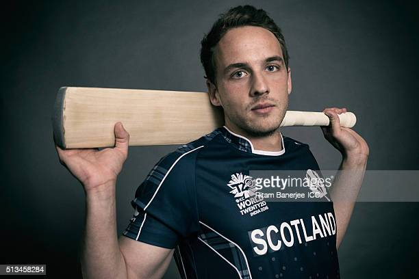 Josh Davey of Scotland poses during the official photocall for the ICC Twenty20 World on March 2 2016 in Mohali India