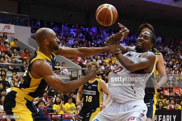 Josh Davis of the Kawasaki Brave fights for the ball against Cedric Bozeman of the Tochigi Brex during the BLeague Kanto Early Cup 3rd place match...