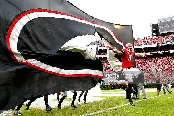 Josh Dawson of the Georgia Bulldogs takes the field during introductions prior to the Kentucky Wildcats at Georgia Bulldogs game on November 7 2015...