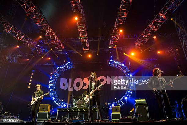 Josh Dewhurst Tom Ogden and Charlie Salt from Blossoms perform at the Isle Of Wight Festival 2016 at Seaclose Park on June 10 2016 in Newport Isle of...