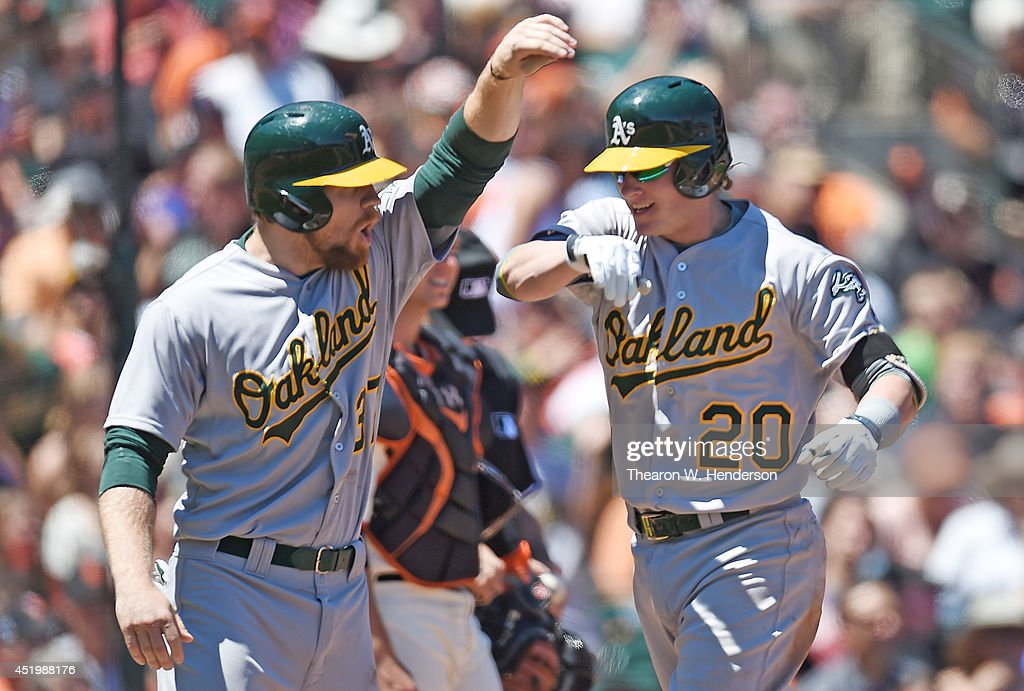 <a gi-track='captionPersonalityLinkClicked' href=/galleries/search?phrase=Josh+Donaldson&family=editorial&specificpeople=4959442 ng-click='$event.stopPropagation()'>Josh Donaldson</a> #20 and <a gi-track='captionPersonalityLinkClicked' href=/galleries/search?phrase=Brandon+Moss&family=editorial&specificpeople=702783 ng-click='$event.stopPropagation()'>Brandon Moss</a> #37 of the Oakland Athletics celebrate after Donaldson hit a two-run homer in the top of the six inning against the San Francisco Giants at AT&T Park on July 10, 2014 in San Francisco, California. Moss was on base when Donaldson homered.