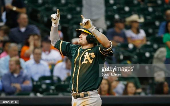 Josh Donaldson of the Oakland Athletics celebrates after his tworun home run in the seventh inning of their game against the Houston Astros at Minute...