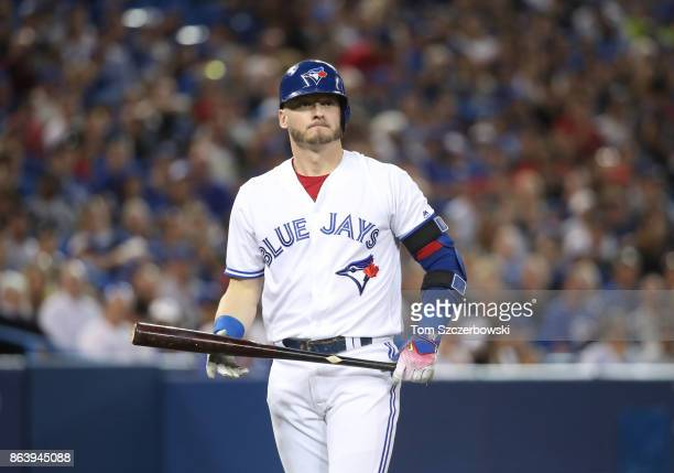 Josh Donaldson of the Toronto Blue Jays as he bats in the seventh inning during MLB game action against the Tampa Bay Rays at Rogers Centre on August...
