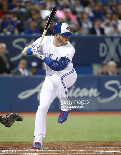 Josh Donaldson of the Toronto Blue Jays bats in the first inning during MLB game action against the Baltimore Orioles at Rogers Centre on April 13...