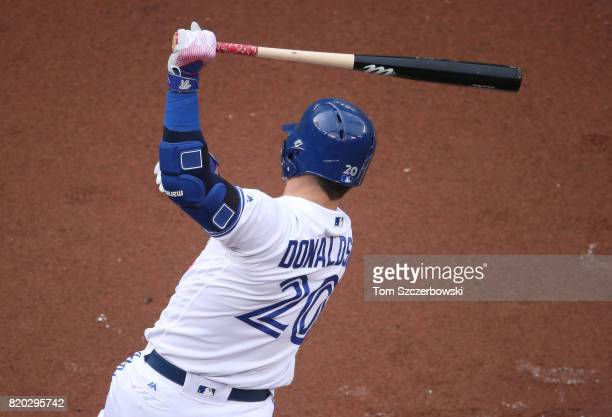 Josh Donaldson of the Toronto Blue Jays bats in the first inning during MLB game action against the Baltimore Orioles at Rogers Centre on June 28...