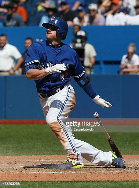 Josh Donaldson of the Toronto Blue Jays bats in the ninth inning during MLB game action against the Baltimore Orioles on June 20 2015 at Rogers...