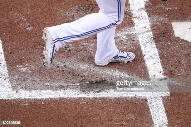 Josh Donaldson of the Toronto Blue Jays digs into the back of the batter's box as he bats in the first inning during MLB game action against the...