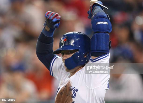 Josh Donaldson of the Toronto Blue Jays gets ready to bat in the ondeck circle in the seventh inning during MLB game action against the Boston Red...
