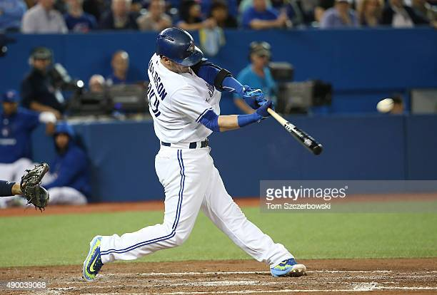 Josh Donaldson of the Toronto Blue Jays hits a solo home run for his fortieth of the season in the third inning during MLB game action against the...