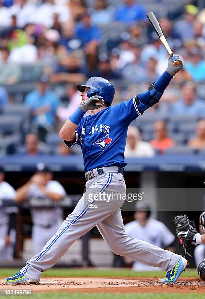 Josh Donaldson of the Toronto Blue Jays hits a solo home run in the first inning against the New York Yankees on August 9 2015 at Yankee Stadium in...