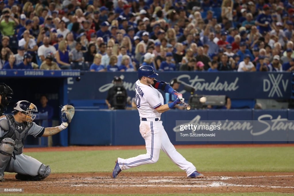 Josh Donaldson #20 of the Toronto Blue Jays hits a solo home run in the fifth inning during MLB game action against the Tampa Bay Rays at Rogers Centre on August 17, 2017 in Toronto, Canada.