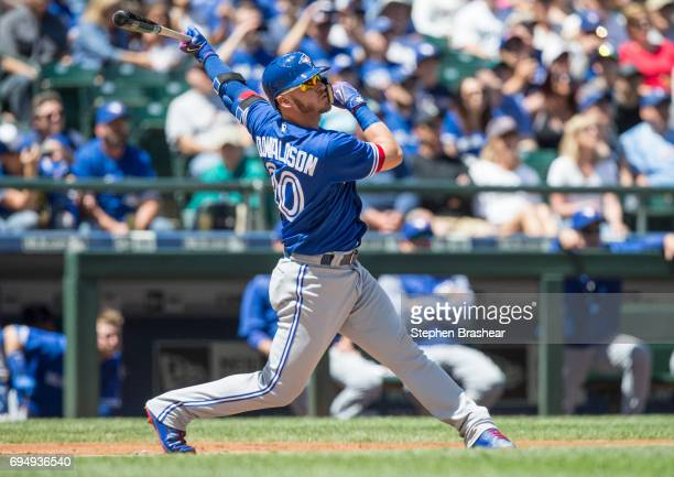 Josh Donaldson of the Toronto Blue Jays hits a tworun home run off of starting pitcher James Paxton of the Seattle Mariners that also scored Kevin...