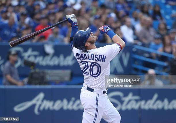 Josh Donaldson of the Toronto Blue Jays pops the ball up as he bats in the first inning during MLB game action against the Tampa Bay Rays at Rogers...