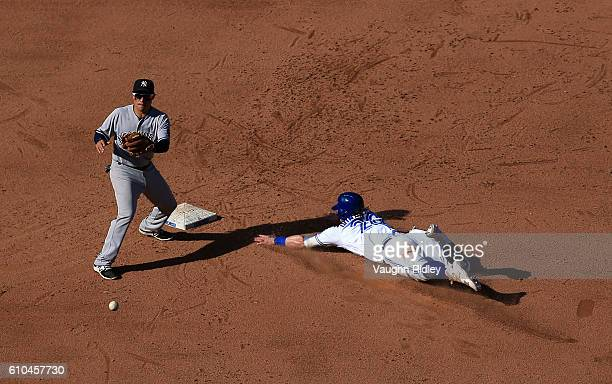Josh Donaldson of the Toronto Blue Jays steals second base in the eighth inning during a MLB game against the New York Yankees on September 25 2016...