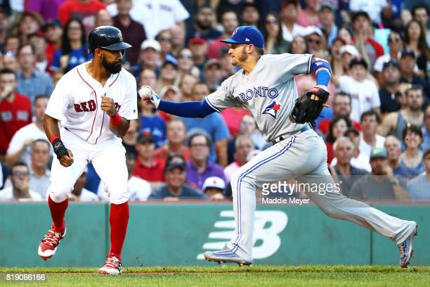 Josh Donaldson of the Toronto Blue Jays tags out Chris Young of the Boston Red Sox between third and home during the second inning at Fenway Park on...