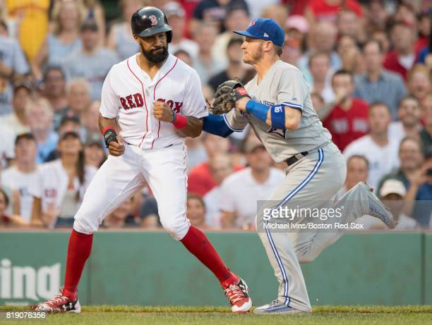 Josh Donaldson of the Toronto Blue Jays tags out Chris Young of the Boston Red Sox after Young got caught in a rundown in the second inning at Fenway...