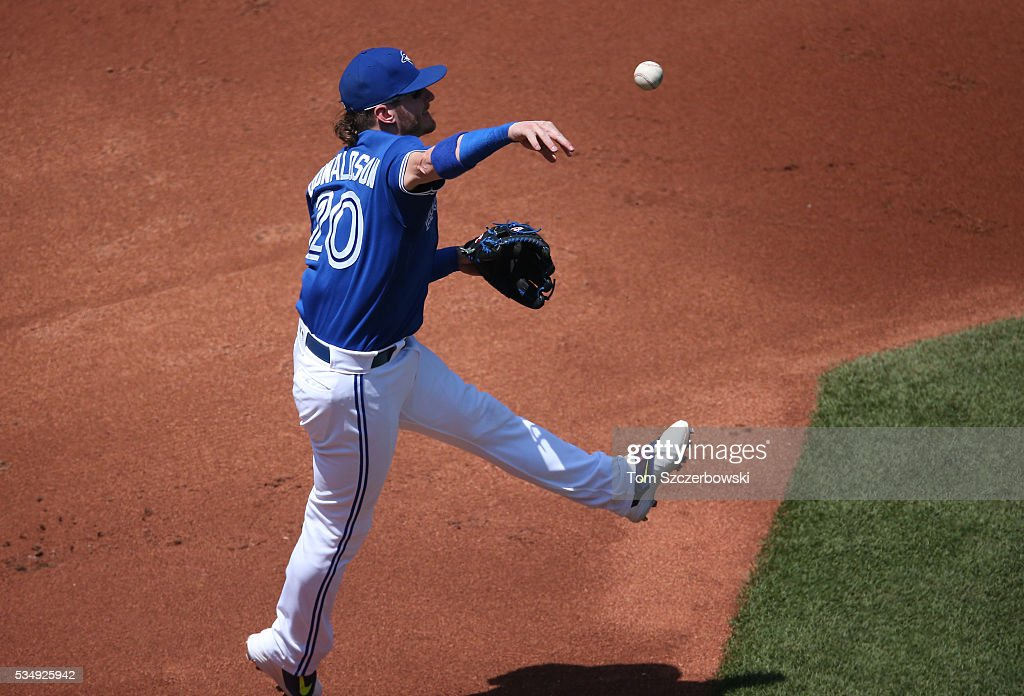 <a gi-track='captionPersonalityLinkClicked' href=/galleries/search?phrase=Josh+Donaldson&family=editorial&specificpeople=4959442 ng-click='$event.stopPropagation()'>Josh Donaldson</a> #20 of the Toronto Blue Jays throws out the baserunner in the third inning during MLB game action against the Boston Red Sox on May 28, 2016 at Rogers Centre in Toronto, Ontario, Canada.