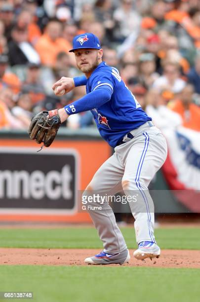 Josh Donaldson of the Toronto Blue Jays throws the ball to first base against the Baltimore Orioles on Opening Day at Oriole Park at Camden Yards on...