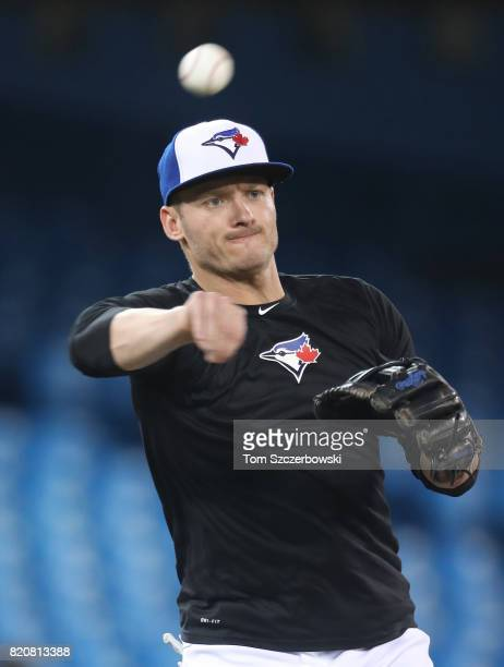 Josh Donaldson of the Toronto Blue Jays warms up before the start of MLB game action against the Baltimore Orioles at Rogers Centre on June 29 2017...