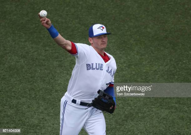 Josh Donaldson of the Toronto Blue Jays warms up before the start of MLB game action against the Baltimore Orioles at Rogers Centre on June 27 2017...
