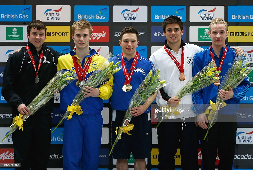 Josh Dowd, Jack Laugher, Oliver Dingley, Chris Mears and Ashley Hendrick pose with their medals following the Men's 1m Final on day 1 of the British Gas Diving Championships on February 8, 2013 in Plymouth, England.