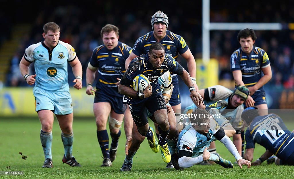 Josh Drauniniu of Worcester makes a break through the Northampton defence during the Aviva Premiership match between Worcester Warriors and Northampton Saints at Sixways Stadium on February 16, 2013 in Worcester, England.