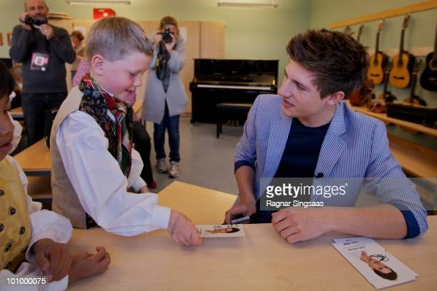 Josh Dubovie visits a school on May 26 2010 in Oslo Norway In all 39 countries will take part in the 55th annual Eurovision Song Contest with the...