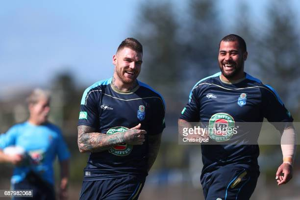 Josh Dugan and Andrew Fifita laugh during a New South Wales Blues State of Origin training session at Cudgen Leagues Club on May 25 2017 in...