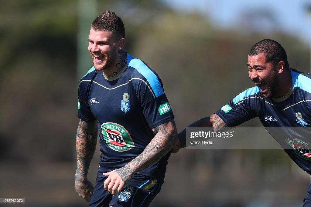 Josh Dugan and Andrew Fifita laugh during a New South Wales Blues State of Origin training session at Cudgen Leagues Club on May 25, 2017 in Kingscliff, Australia.