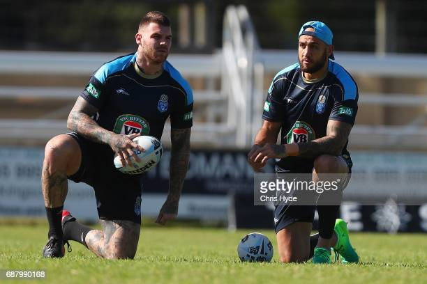 Josh Dugan and Blake Ferguson talk during a New South Wales Blues State of Origin training session at Cudgen Leagues Club on May 25 2017 in...