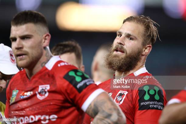 Josh Dugan and Jack de Belin of the Dragons look dejected after a Bulldogs try during the round 14 NRL match between the Canterbury Bulldogs and the...