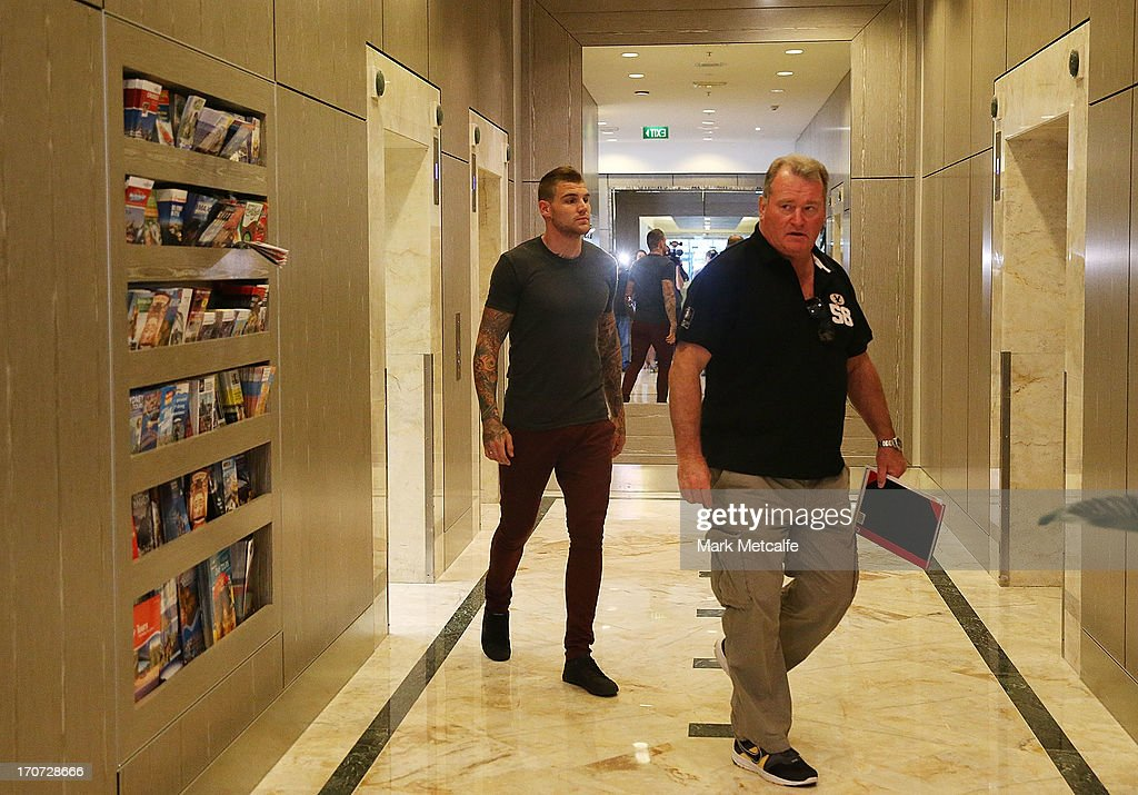Josh Dugan arrives at the Blues team hotel before a New South Wales Blues State of Origin media session at Crowne Plaza Coogee on June 17 2013 in...
