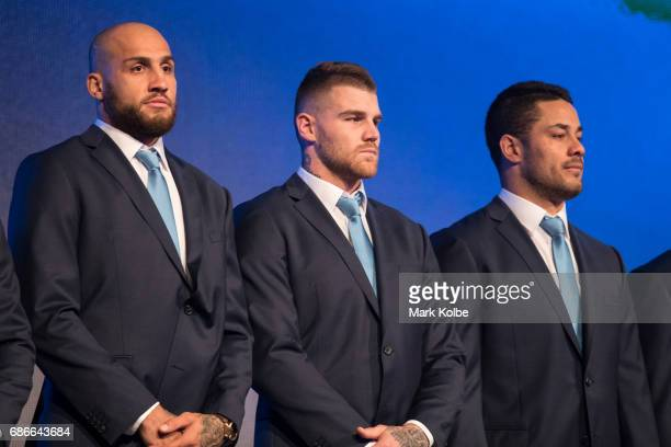 Josh Dugan Blake Ferguson and Jarryd Hayne stand on stage during the New South Wales State of Origin team announcement at The Star on May 22 2017 in...