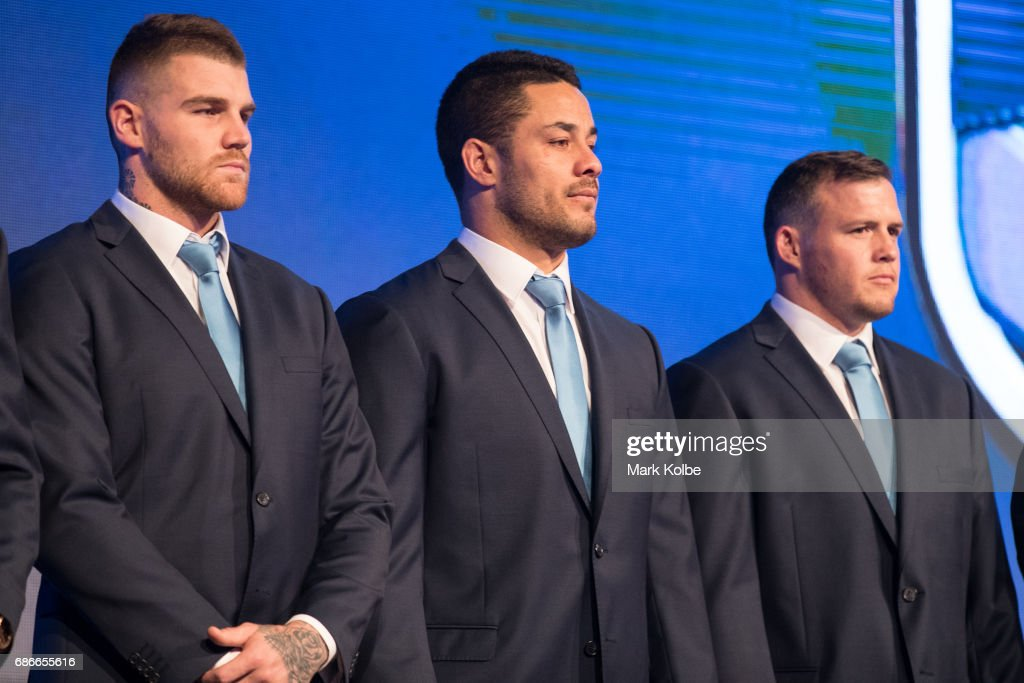 Josh Dugan, Jarryd Hayne and Brett Morris stand on stage during the New South Wales State of Origin team announcement at The Star on May 22, 2017 in Sydney, Australia.