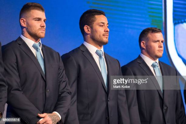 Josh Dugan Jarryd Hayne and Brett Morris stand on stage during the New South Wales State of Origin team announcement at The Star on May 22 2017 in...