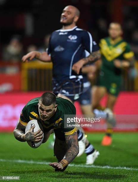 Josh Dugan of Australia scores a second half try during the Four Nations match between the Australian Kangaroos and Scotland at KCOM Lightstream...
