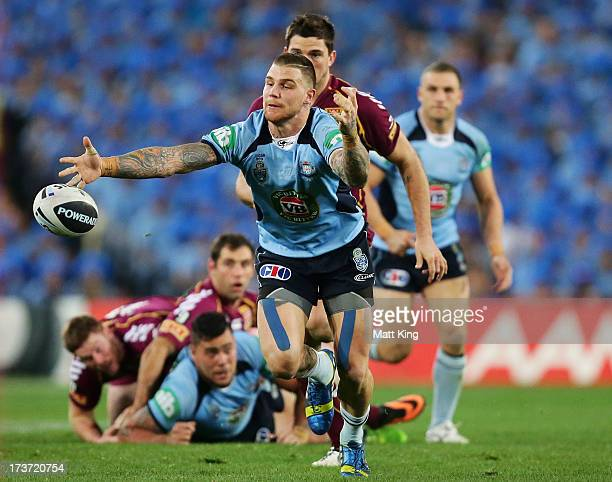 Josh Dugan of the Blues drops the ball with a clear line in front of him during game three of the ARL State of Origin series between the New South...