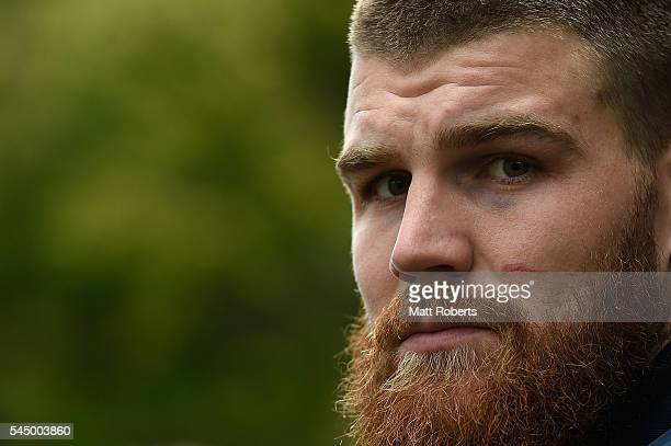 Josh Dugan of the Blues speaks to media during a New South Wales Blues State of Origin media opportunity at Novotel Coffs Harbour on July 5 2016 in...