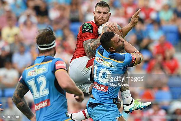 Josh Dugan of the Dragons catches the ball in the air during the round seven NRL match between the Gold Coast Titans and the St George Illawarra...