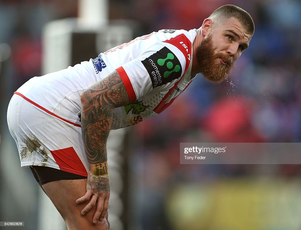 <a gi-track='captionPersonalityLinkClicked' href=/galleries/search?phrase=Josh+Dugan&family=editorial&specificpeople=5553377 ng-click='$event.stopPropagation()'>Josh Dugan</a> of the Dragons during the round 16 NRL match between the Newcastle Knights and the St George Illawarra Dragons at Hunter Stadium on June 25, 2016 in Newcastle, Australia.